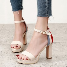 Word Buckle With Open Toe Ladies High Heels 2018 Summer Sandals Female Korean Thick Square Heel Women's Shoes CH-A0089 2018 spring ankle wrap buckle women sandals female flock open toe party dress shoes ladies fashion square high heels ch b0085