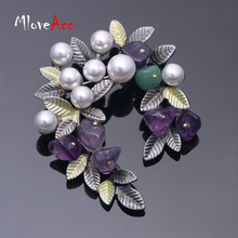 MloveAcc Colorful Natural Stone Rhinestone Bead Leaf Brooches Pins Vintage Style Big Women Brooch Wedding Accessories Jewelry