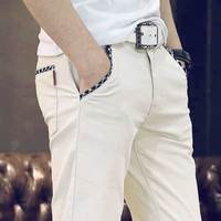 Stretch Men S Slim Fit Casual Pants Flat Front Chinos 97 Cotton Hight Quality Long Trousers