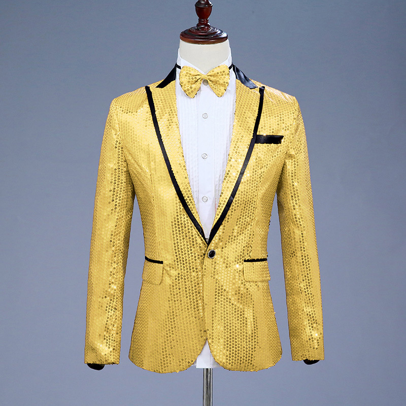 Image 5 - Sequin Suit Jacket Costume Single Breasted Casual White Red Blue Blazer Purple Pink Yellow Men Suits Para Caballero Blazers-in Blazers from Men's Clothing