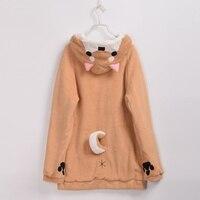 Harajuku Kawaii Women Hoodies Sweatshirts Fleece Hooded Coat with Cute Tail
