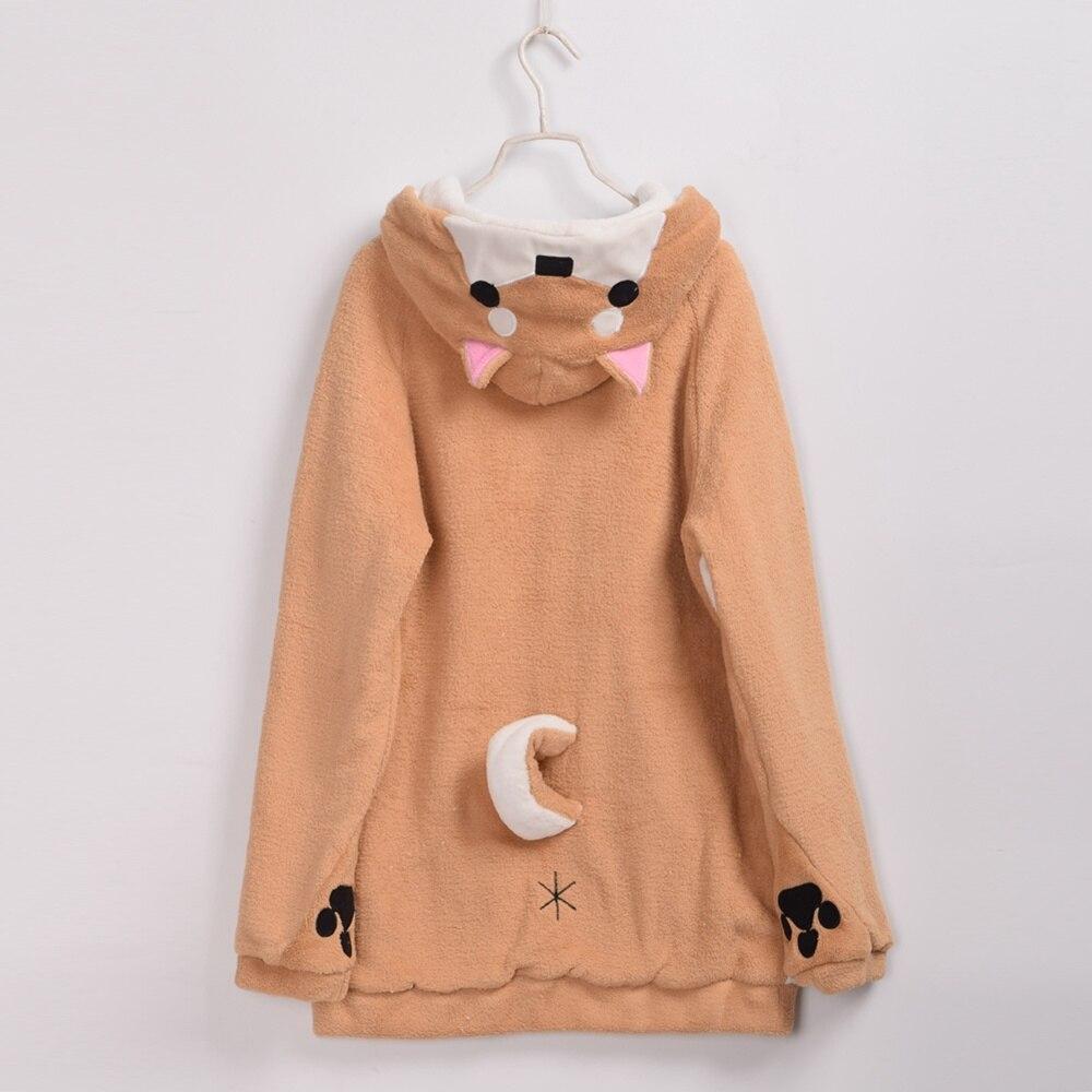 Harajuku Kawaii sweat à capuche pour femme sweat-shirts polaire à capuche manteau avec queue mignonne