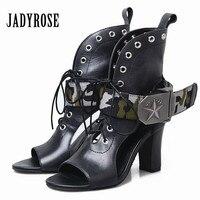 Jady Rose 2018 New Design Genuine Leather Women Gladiator Sandals Summer Boots Sexy High Heels Hollow