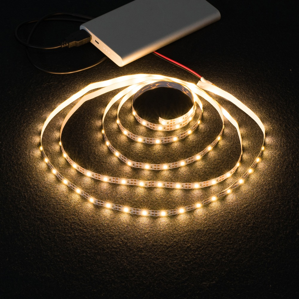 WELPUR battery 5V USB LED Strip 2835 DC LED Light Flexible 50CM 1M 2M 3M 5M white warm  For TV Background Lighting Night light 4
