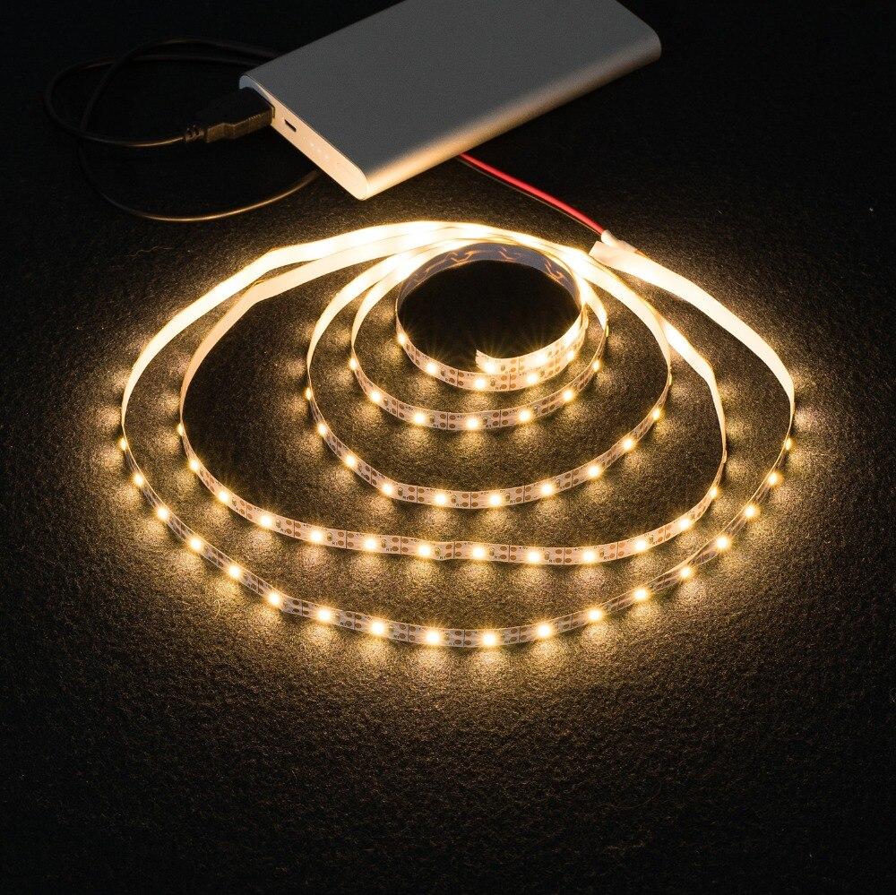 WELPUR battery 5V USB LED Strip 2835 DC LED Light Flexible 50CM 1M 2M 3M 5M WELPUR battery 5V USB LED Strip 2835 DC LED Light Flexible 50CM 1M 2M 3M 5M white warm For TV Background Lighting Night light