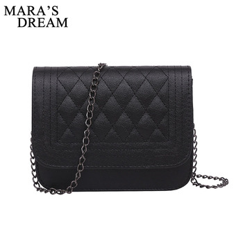 Mara's Dream 2019 PU Leather Women Messenger Bag Plaid Ladies Crossbody Bag Chain Trendy Candy Color Small Flap Shopping Handbag