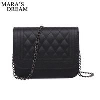 Mara S Dream 2017 PU Leather Women Messenger Bag Plaid Ladies Crossbody Bag Chain Trendy Candy