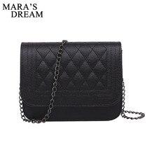 Mara's Dream 2018 PU Leather Women Messenger Bag Plaid Ladies Crossbody Bag Chain Trendy Candy Color Small Flap Shopping Handbag