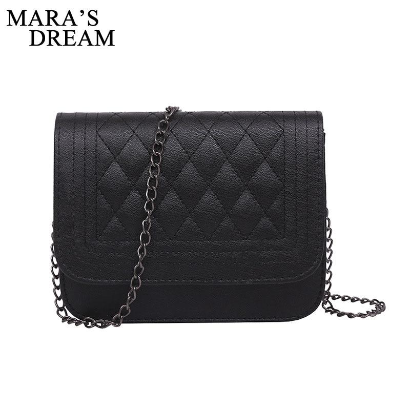 Mara's Dream 2019 PU Leather Women Messenger Bag Plaid Ladies Crossbody Bag Chain Trendy Candy Color Small Flap Shopping Handbag