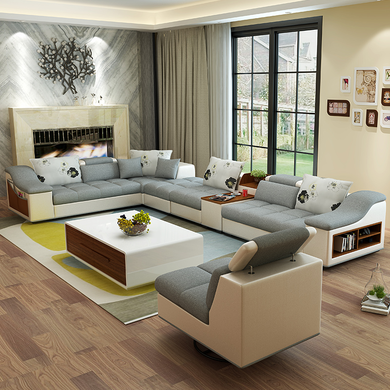 Living room furniture modern u shaped leather fabric for Leather and fabric living room sets