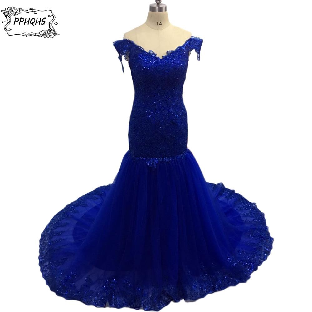 Vestido De Festa Fashion Puffy Cap Sleeve Mermaid Prom Dresses 2017 Robe Bal De Promo Lace royal blue Formal Evening Gowns