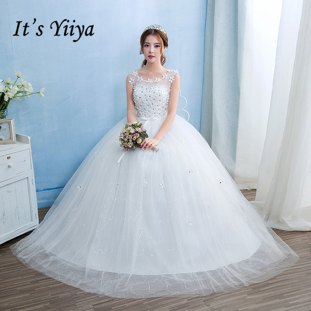 Free Shipping Vestidos De Novia Real Photo Cheap White Lace with Flowers Wedding  Dress O-Neck Lace up Bridal Gowns Frocks HS237 3303170c6dec