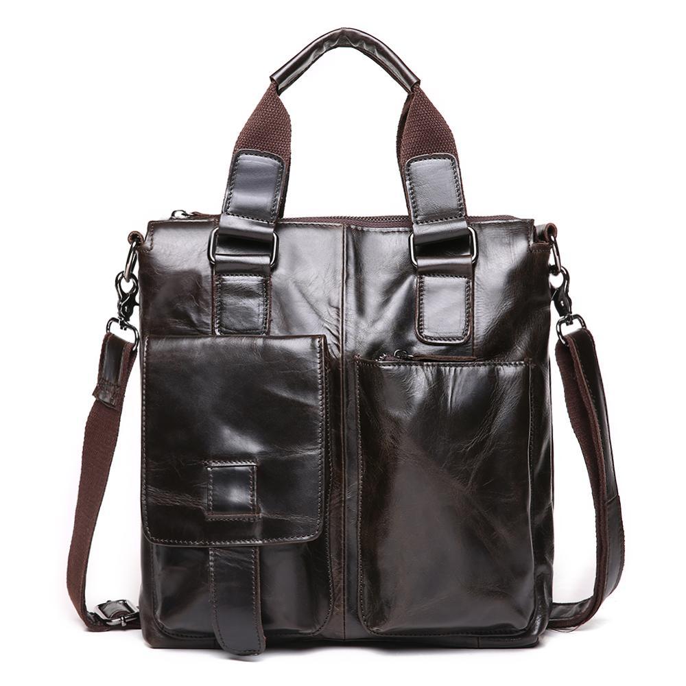 LACHIOUR torba ze skóry naturalnej biznesmenów torby laptopa teczki Crossbody dużego ciężaru torby torebka na ramię mężczyzna gona w Torby z długim paskiem od Bagaże i torby na  Grupa 1