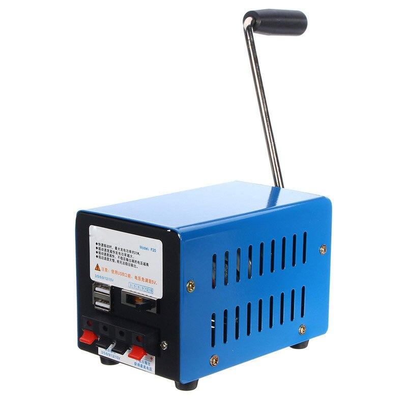 Cargador de alta potencia portátil de emergencia manivela manual de mano cargador USB emergencia supervivencia azul manivela generador