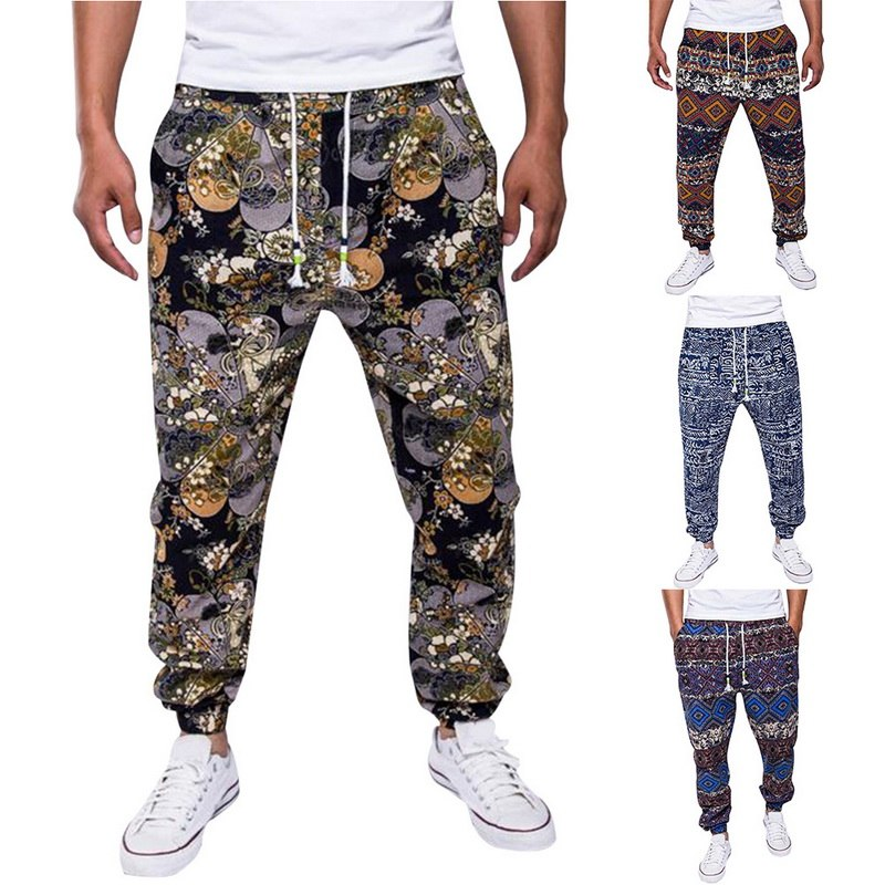 SHUJIN Men Printed Linen Pants Autumn Streetwear Joggers Trousers Fashion Drawstring Hip Hop Loose Harem Pants Mens Sweatpants(China)