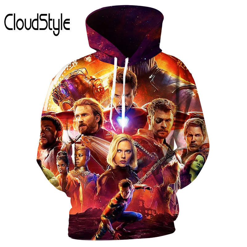 Cloudstyle 2018 New Design 3D Hoodies Printed black Widow Sweatshirts Mens Hoodie Loose Pullovers Streetwear Outwear Tops