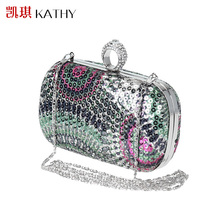 New Women's Handbags Luxury Sequins Wedding Clutch Bags Purse Finger Ring Party Evening Bags Female Day Clutches Bolsas
