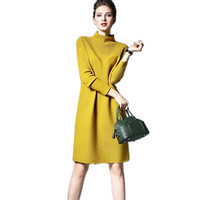 Spring Fall Women Dresses Large Size Solid Color Loose Dresses Long Sleeve Knitted Wool Dress Female