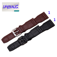 UYOUNG watchband leather watchband 22mm Brack Brown watch accessories free shipping