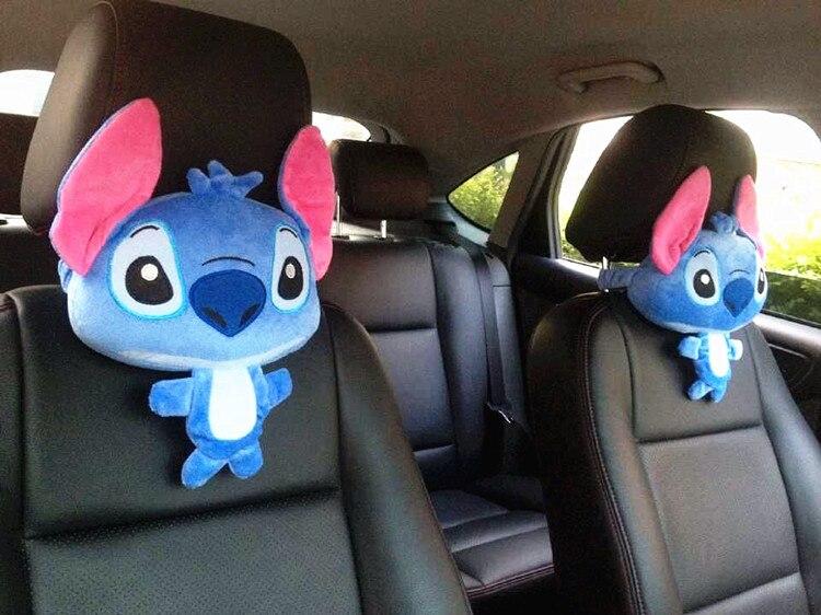 Cute 1pair 33cm funny Stitch lovely plush car soft headrest Vehicle bone rest neck pillow stuffed toy