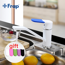 Frap Kitchen Faucet Mixer Cold and Hot Water Sink Tap Multi Color Single Hole 360 Rotating Multi Color Handle Cover ChoicesF4534