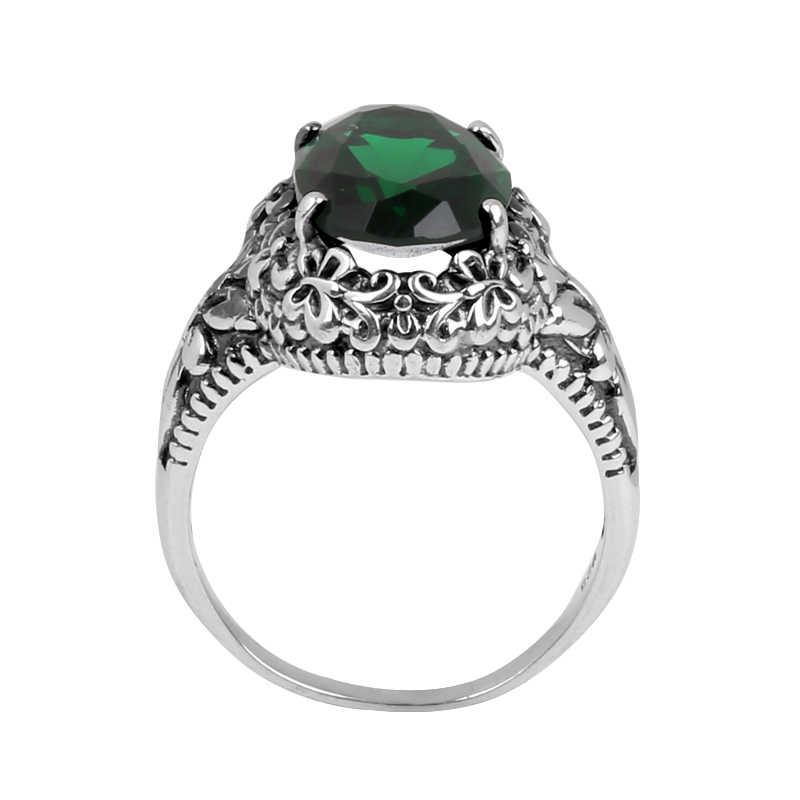 Szjinao ผีเสื้อแหวนขายส่งแหวนเงินมรกตสำหรับผู้หญิง Vintage 925 เงินสเตอร์ลิงเครื่องประดับการประมวลผล
