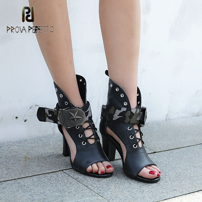 Prova Perfetto cow leather lace up hollow out women gladiator sandal mixed color buckle sexy punk style summer shoe high heels punk style pure color hollow out ring for women