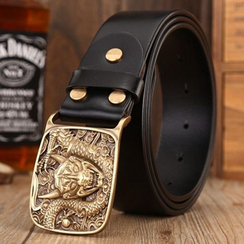 2018 rétro dragon plaque boucle ceintures pour hommes sangle jeans pleine fleur en cuir véritable ceinture café ceinture taille 120 cm scalpers - 2