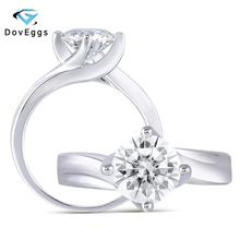 DovEggs Classic Sterling Solid 925 Silver 2ct 8mm HI Color Heart and Arrows Cut Moissanite Solitaire Engagement Ring for Women