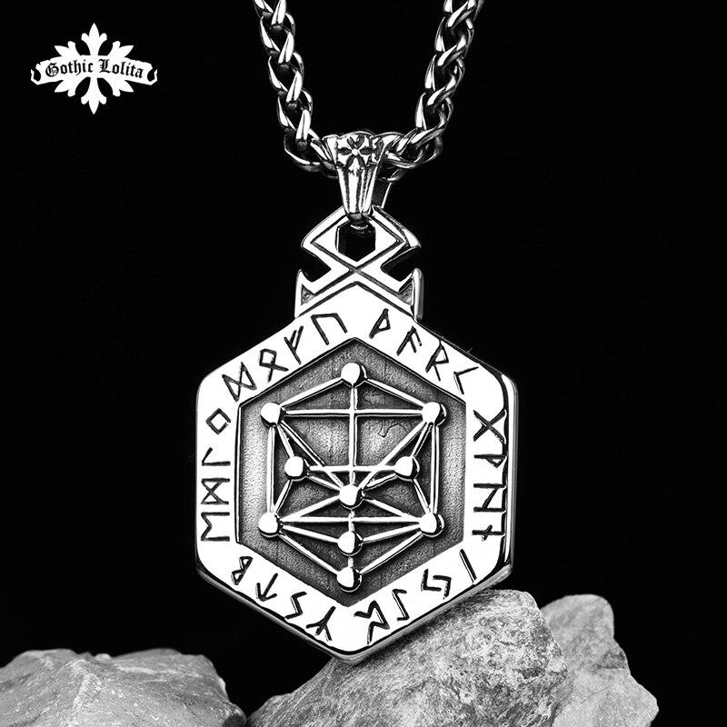Mythologie nordique Viking rune collier en acier inoxydable le côté pendentif Kabala totem pour hommes hippop culture de rue mygrillz