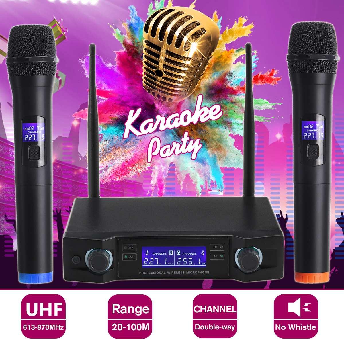 UHF Wireless Microphone System Dynamic 2 Channel 2 Handheld Karaoke Cardioid Microphone Professional