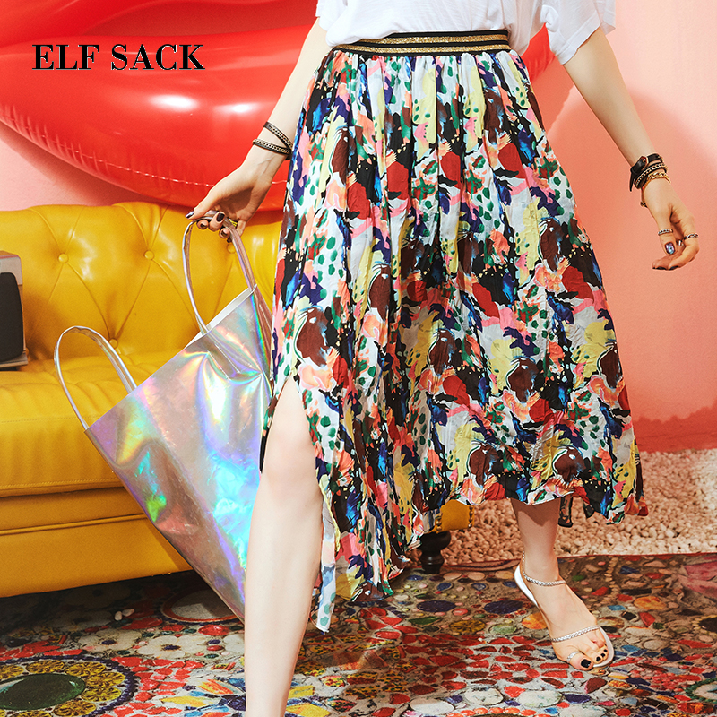 ELF SACK Casual Floral Print Bohemian Style Skirt E17032
