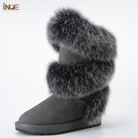 new style fashion real fox fur women high winter snow boots sheepskin suede leather sheep fur lined winter shoes black grey