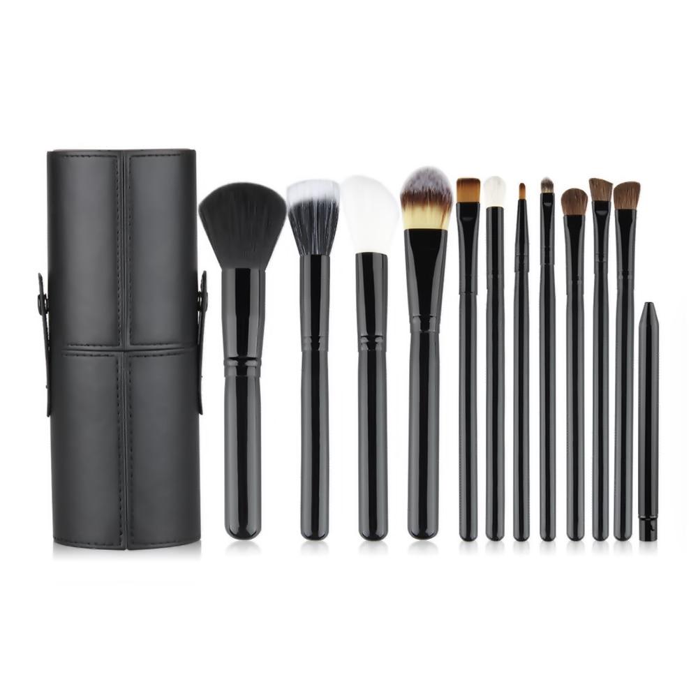 12Pcs Black Makeup Brushes Set Powder Blush Foundation Eyeshadow Eyeliner Lip make up Cosmetic Brush with Holder case