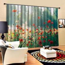 Customized size Luxury Blackout 3D Window Curtains For Living Room fresh flower curtains for girls room Blackout curtain(China)