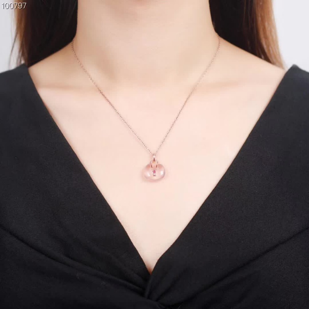 wholesale fashion trendy 925 sterling silver quartz pink crystal pendant necklace jewelry for women wedding engagement gift in Jewelry Sets from Jewelry Accessories