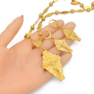 Image 4 - Anniyo ハワイイエスジュエリーセットクロスペンダントネックレスイヤリング女性女の子ゴールド色グアムミクロネシア chuuk pohnpei #212306