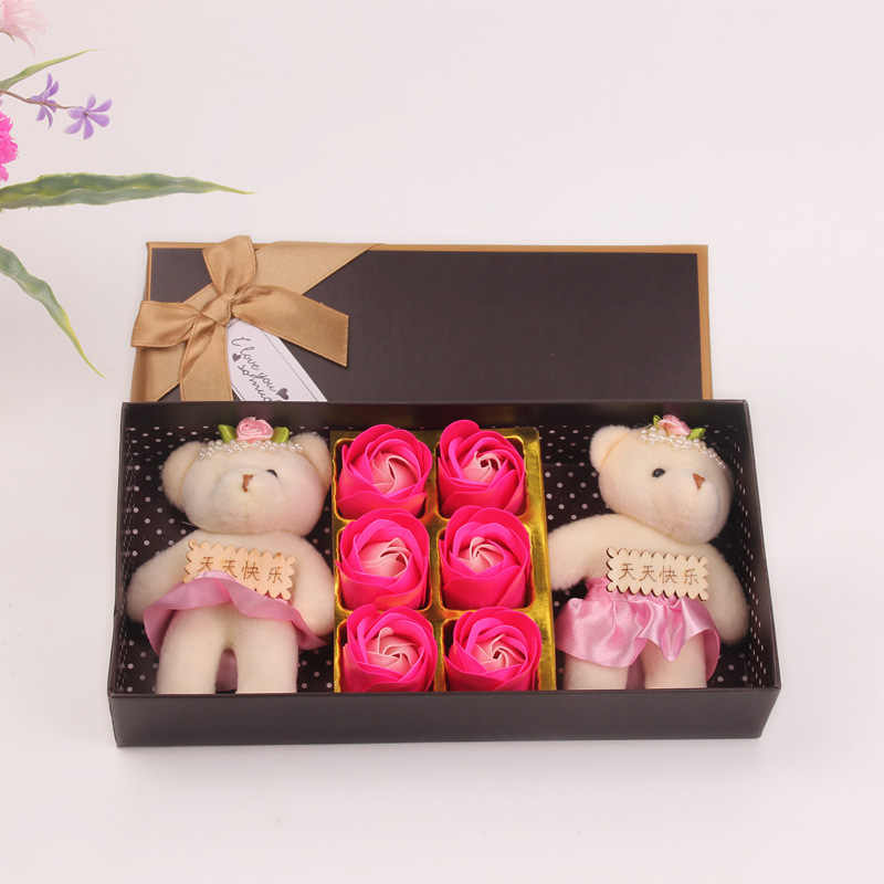 Buatan Kecil Mewah Boneka Beruang Mainan dengan Karangan Bunga Sabun Cetakan Bunga Mawar Hari Valentine Pernikahan Jasa Dekorasi Kotak