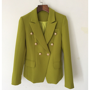 Image 2 - HIGH STREET New Fashion 2020 Designer Blazer Jacket Womens Metal Lion Buttons Double Breasted Blazer Outer Coat Ginger