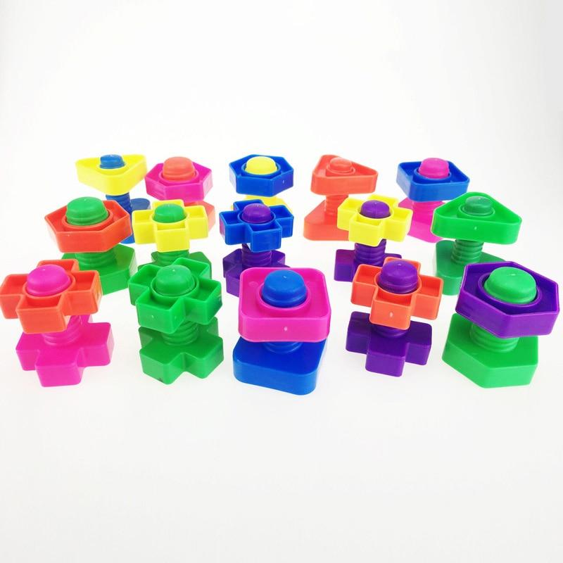 5 Set Screw Building Blocks Plastic Insert Blocks Nut Shape Toys For Children Educational Toys Montessori Scale Models