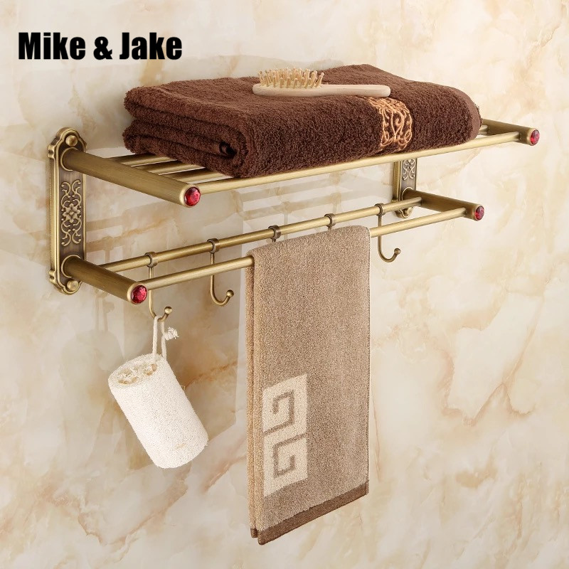 Antique brass bathroom towel shelf with 5pecs hook antique wall towel rack with towel bars bathroom shelf retro bathroom 40cm nail free foldable antique brass bath towel rack active bathroom towel holder double towel shelf with hooks bathroom accessories