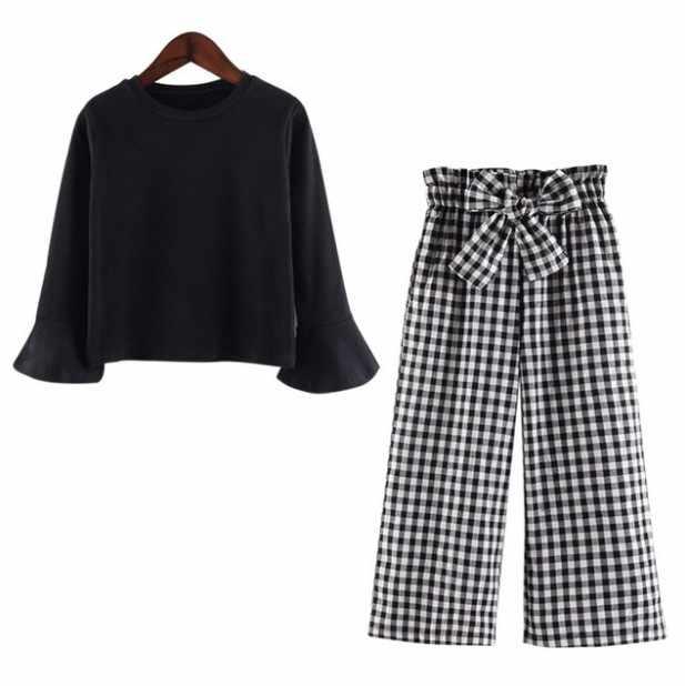 Комплект одежды для детей комплект для девочек, детская одежда комплект одежды для девочек, детские весенние комплекты одежды однотонная черная рубашка клетчатые длинные штаны