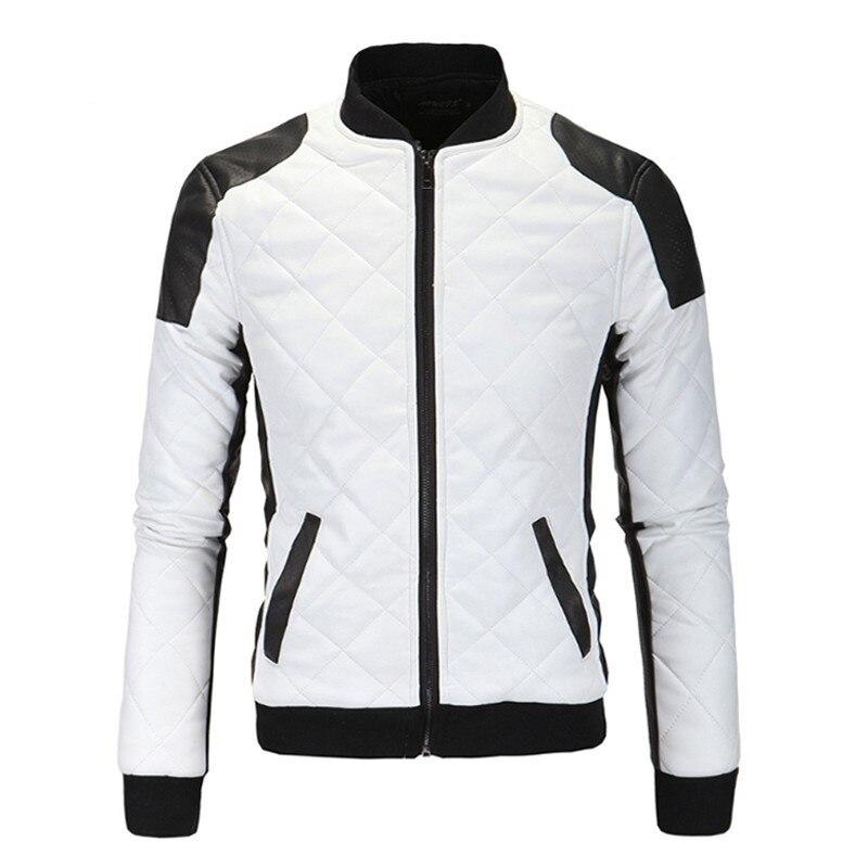 2019 New Men   Parkas   Black White Patchwork PU Coat Standing Collar Zipper Rugelar Clothing Male Plaid Decoration Pocket Plus Size