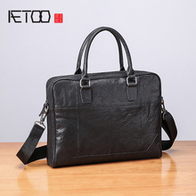 AETOO Handbag male Leather horizontal business casual briefcase Large capacity simple cowhide men's bag men s leather cross style square zipper handbag cowhide men s business package solid color large capacity briefcase