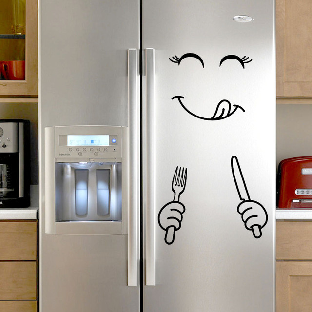 1 PC Wall Sticker Cute Sticker Fridge Happy Delicious Face Kitchen Fridge Wall Stickers Art Fridge Removable DIY Wall Stickers