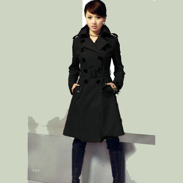 Black/Red 2013 New Fashion Women Double Breasted Trench Coat Wool ...