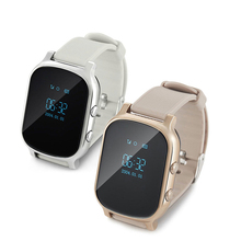 Free shipping Alloy 0.96 inch OLED square bluetooth smart watch T58 gps watch phone with gps positioning voice call message