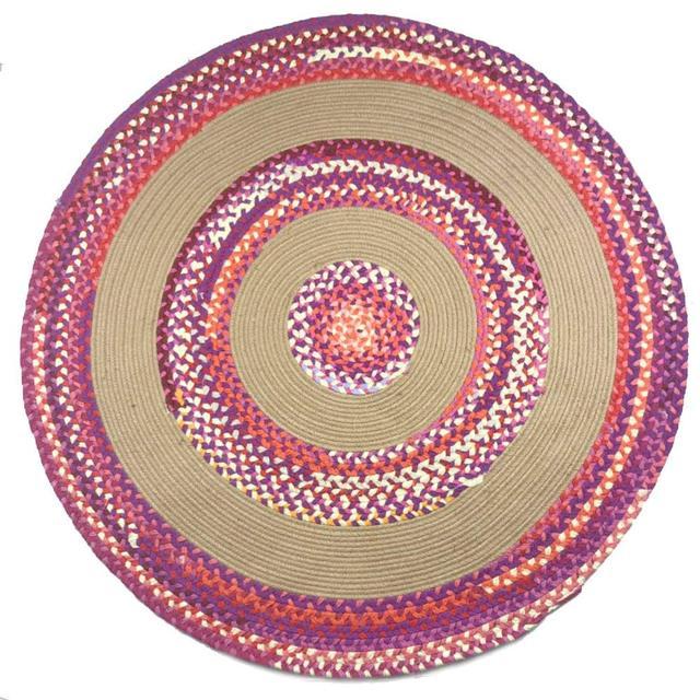 Jute Cotton Multi Chindi Braid Rug Hand Woven Reversible Round Carpet Handmade Braided
