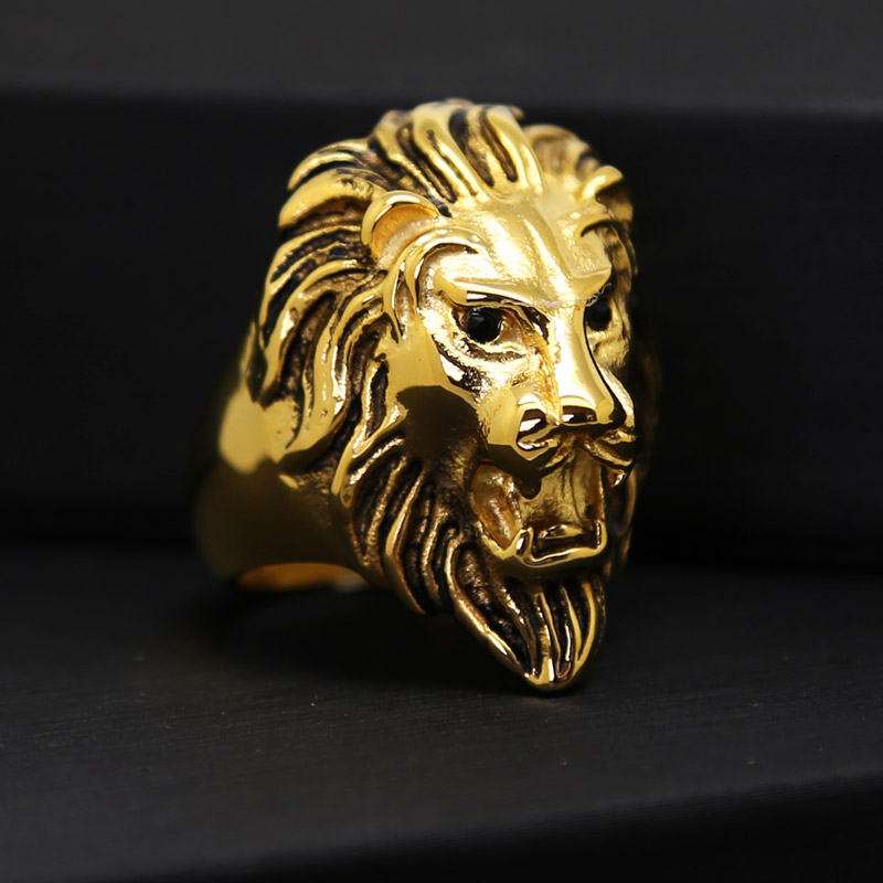 JHNBY Titanium steel lion face ring Hiphop Rock Gold-color Men ring High quality fashion charm Punk accessorie jewelry