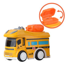 Bus Model Vehicle Car Bricks Big Particles Building School Bus Model Toys Classic Long Nose Friction Powered Vehicles Toy M0620(China)